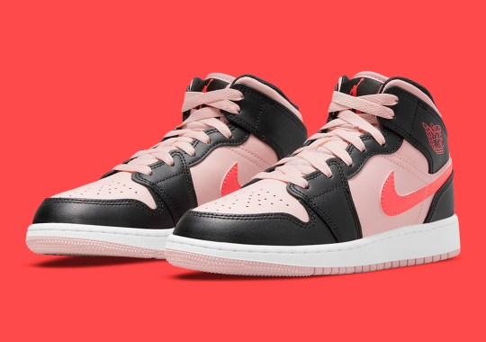 The Air Jordan 1 Mid GS Boasts Crimson And Pink