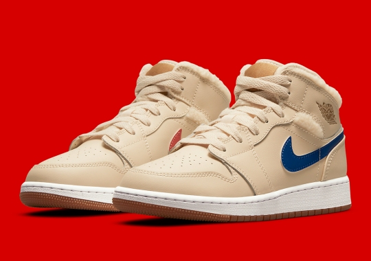 Plush Fleece Lines This Upcoming Air Jordan 1 Mid With Mix-And-Match Swooshes