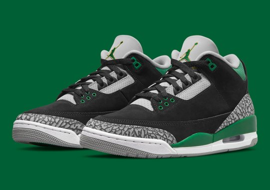"""Official Images Of The Air Jordan 3 """"Pine Green"""" In Full Family Sizes"""