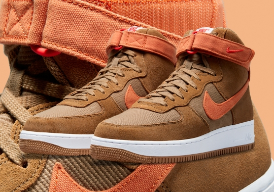The Nike Air Force 1 High Gets Ready For Winter With Brown Suede And Orange Canvas