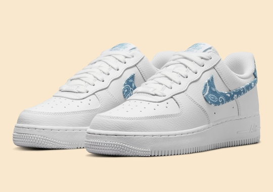 """Bandana Paisley Prints Appear On This Women's Nike Air Force 1 Low """"Worn Blue"""""""