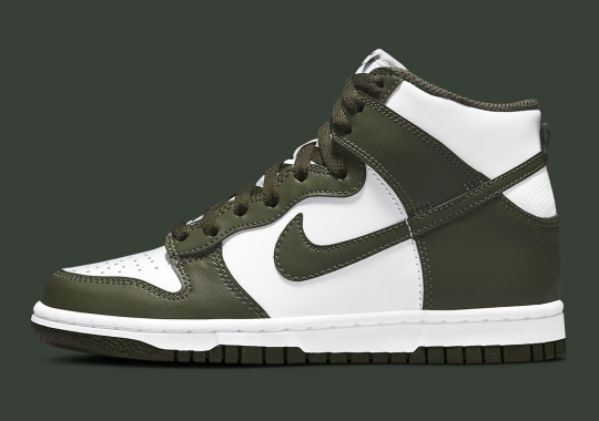 """Official Images Of The Nike Dunk High GS """"Olive Green"""""""