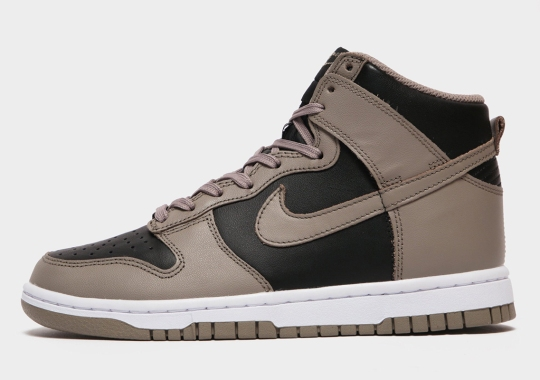 The Nike Dunk High Appears In Moon Fossil And Black