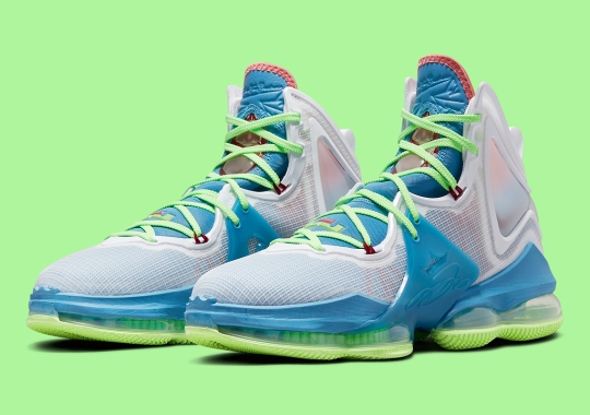 Nike LeBron 19 Gets Tropical With Dutch Blue, Pomegranate, And Lime Glow